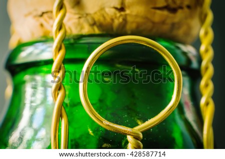 champagne cork with ring macro - stock photo