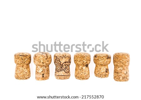 Champagne corks isolated on white - stock photo