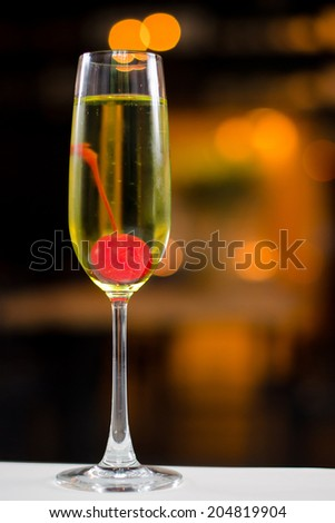 champagne decorate with cherry - stock photo