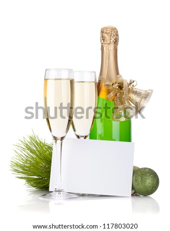 Champagne, empty card and christmas decor. Isolated on white background - stock photo
