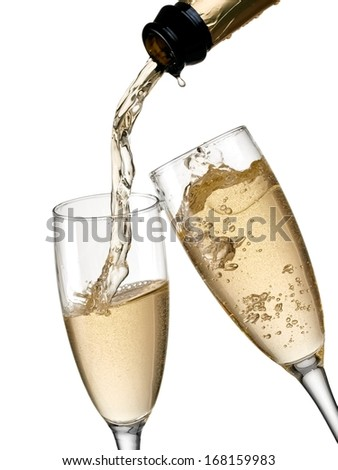 Champagne flow in two glasses