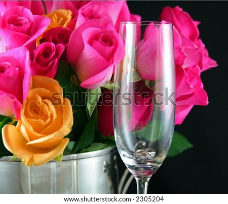 Champagne Flute and Roses - stock photo