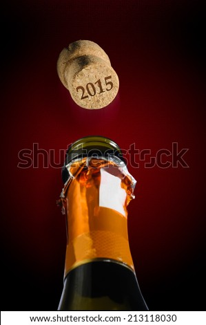 Champagne for new year two thousand fifteen - stock photo