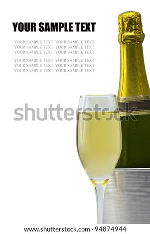 Champagne glass and Champagne bottle - stock photo