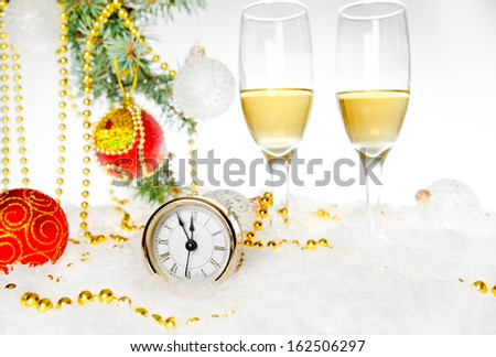 Champagne glass. Christmas collection. New Year's clock.