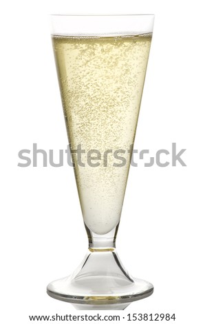 Champagne glass close up on the white - stock photo
