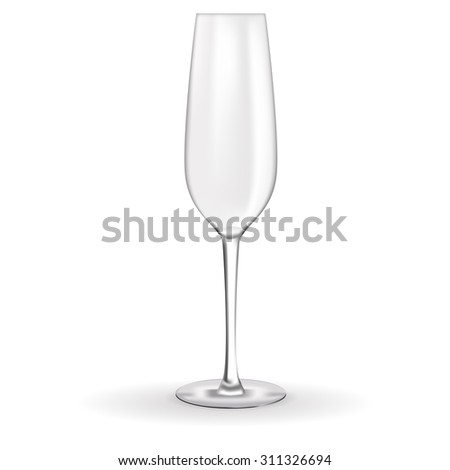 Champagne glass empty. Raster version. Isolated on white. - stock photo
