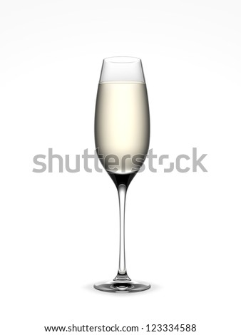 Champagne glass isolated on a white background - stock photo