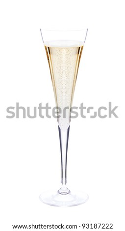 Champagne glass. Isolated on white background - stock photo