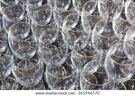 champagne glass pattern transparent empty glass goblets for wine,background Abstract,  - stock photo
