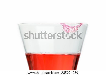 champagne glass with lipstick - stock photo