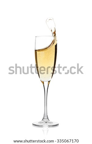 Champagne glass with splash. Isolated on white background