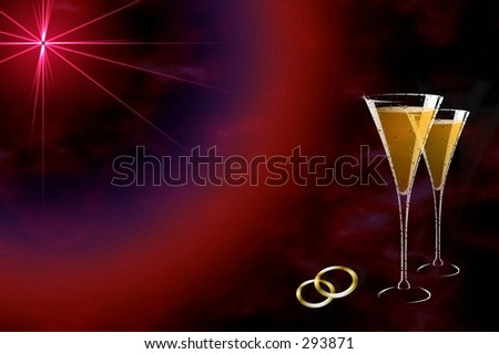 Champagne glasses and wedding bands over space back . - stock photo