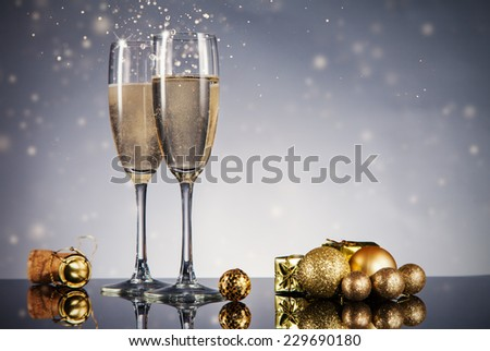 Champagne glasses. Celebration theme with champagne still life - stock photo