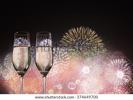 Champagne glasses for celebrate new year - stock photo