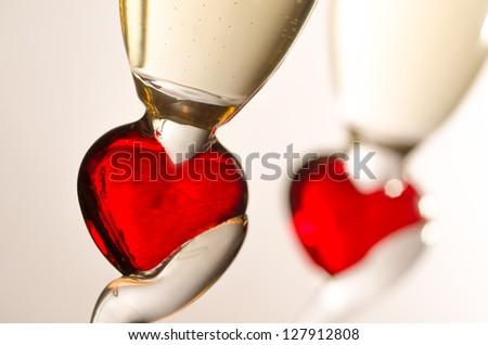 Champagne glasses for romantics - stock photo