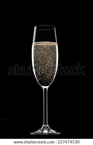 Champagne glasses isolated on black background