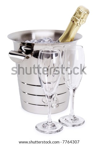Champagne in a Bowl - isolated on white