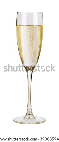 Champagne in a glass. Isolated on white background with clipping path