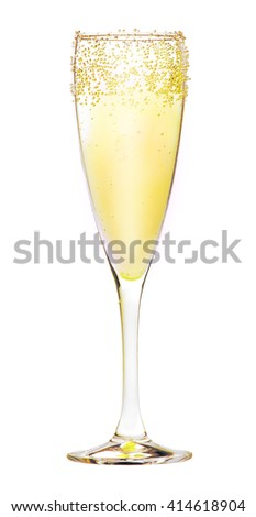 Champagne in a glass with bubbles on the outside. Isolated on white background. - stock photo