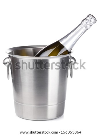 Champagne in bucket. Isolated on white background - stock photo