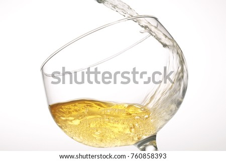 champagne in glass isolated
