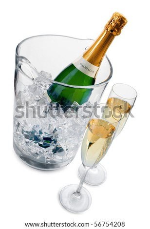 Champagne in ice bucket and two champagne flutes