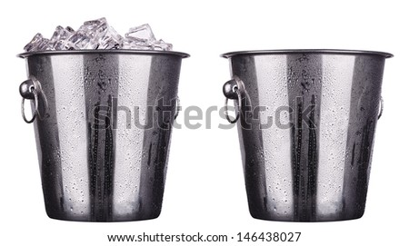 champagne Metal ice bucket and empty isolated on a white background