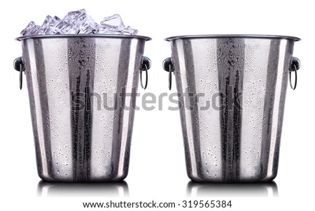 Champagne Metal ice buckets isolated on a white background