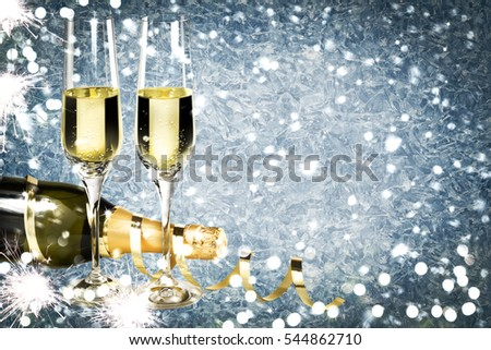 Champagne new year ice background