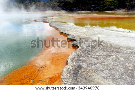Champagne Pool at Wai-O-Tapu Thermal Wonderland in New Zealand - stock photo