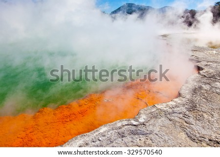 champagne pool in new zealand, famous sightseeing - stock photo