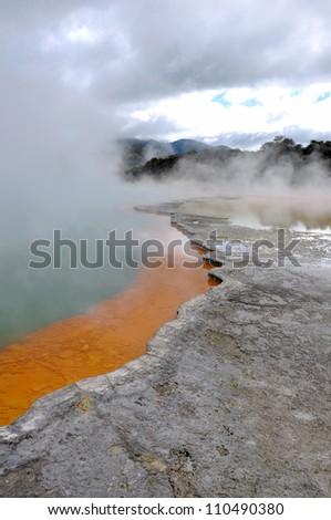 Champagne Pool in Rotorua, New Zealand - stock photo