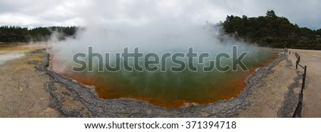 Champagne Pool in Waiotapu geothermal area in the North Island of New Zealand - stock photo