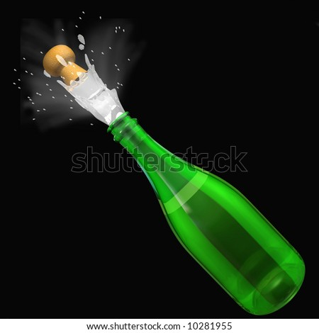 Champagne pop - stock photo