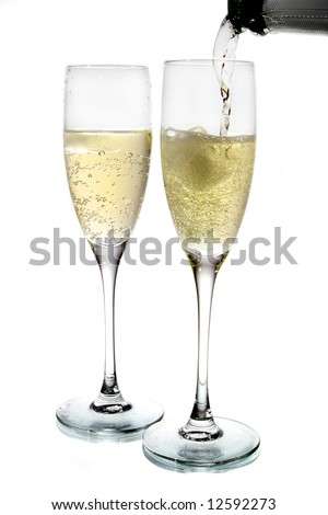 Champagne poured in to the glass (isolated on white background)