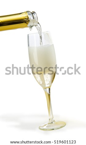Champagne poured into the flute where you see the foam