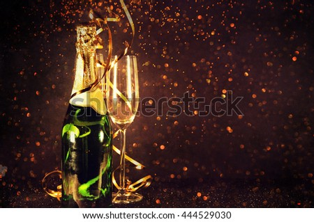 Champagne ready to bring in the New Year - stock photo