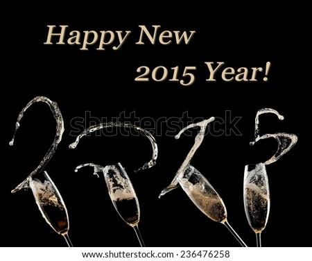 Champagne splash, Happy New 2015 Year! - stock photo