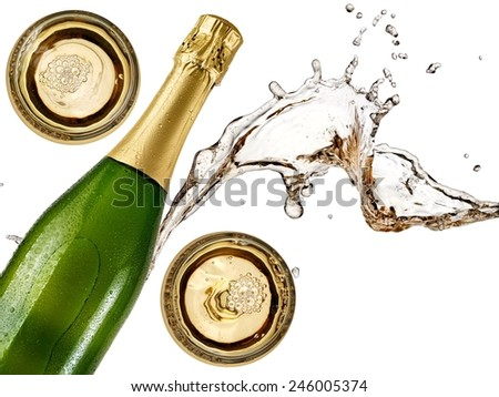 Champagne splash with a bottle and two glasses - stock photo