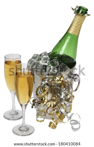 champagne still life on white  - stock photo