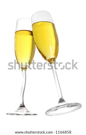 Champagne toast with two flutes with curvy stems ; includes CP
