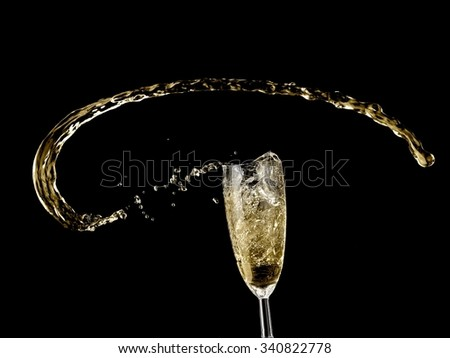 Champagne up from a glass - stock photo