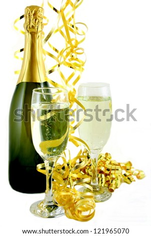 Champagne with Gold Streamers - stock photo