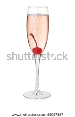 Champagne with maraschino. Isolated on white background - stock photo