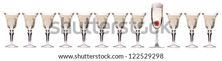 Champagne with strawberry - christmas cocktail set isolated on a white - stock photo