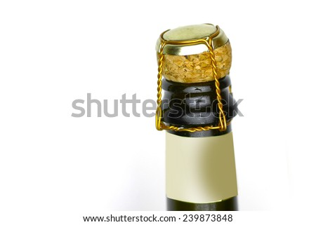 champaign bottle top with cork - stock photo