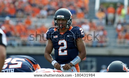 CHAMPAIGN,IL-SEPTEMBER 28: University of Illinois quarterback Nathan Scheelhaase calls out his next play during a game against Miami-OH on Saturday, Sept 28, 2013.