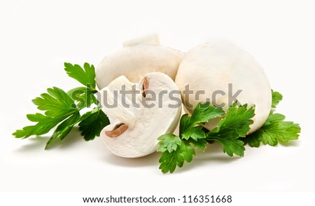 Champignon mushroom white agaricus with parsley isolated - stock photo