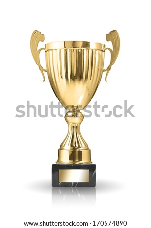 champion golden trophy isolated on white background
